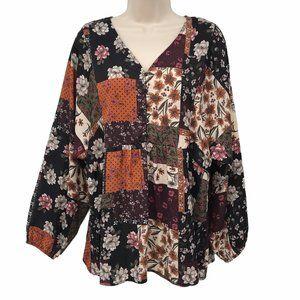 Style&Co Boho Print Long Dolman Sleeve Blouse M